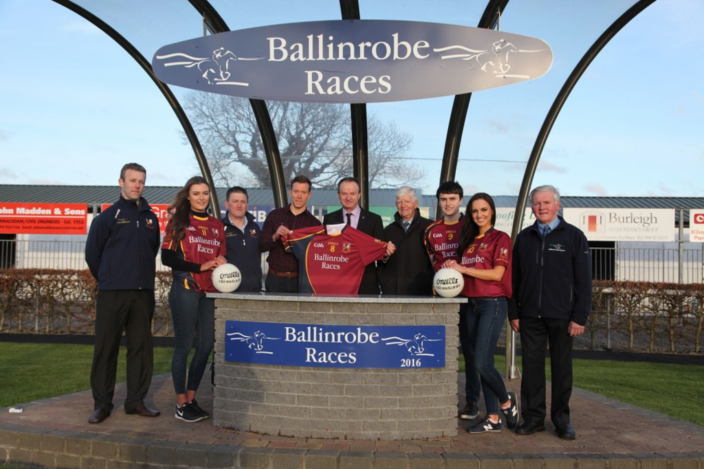 Ballinrobe Race Committee presenting Team Jerseays to the Ballinrobe Senior Football Team:Left to right:Donal McCormack(Club Secretary), Aisling Duffy, Declan Corcoran(Club Chairman), Donnie Vaughan(Team member and Mayo Player), Racecourse Manager John Flannelly, Race Committee Chairman John Staunton, Kevin Quinn (Team member), Leonie McGuigan(Catwalk Modeling Agency), Michael Joyce(Race Committee). Pic:Trish Forde.
