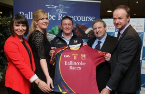 Ballinrobe Races are the new sponsors of Ballinrobe Senior Football Team:Left to right:Jane Davis and Barbara White (HRI Marketing Dept), Declan Corcoran(Ballinrobe G.A.A. Club Chairman), Brian Kavenagh(Horse Racing Ireland CEO), Ballinrobe Racecourse Manager John Flannelly. Pic:Trish Forde.