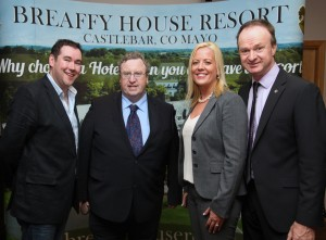 At the launch of the Ballinrobe Races Season, pictured were:left to right:Michael Yates(Breaffy House Resort: Sponsors), Brian Kavanagh(Horse Racing Ireland CEO),, Cróna Esler(Healy Mac's G.M., Breaffy House Resort: Sponsors), Racecourse Manager John Flannelly. Pic:Trish Forde.