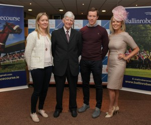 Sponsors Ailish and Donal Vaughan of Vaughan Shoes , Ballinrobe , Claremorris and Castlebar, with Race Committee Chairman John Staunton and TV Personality and Ladies DAy Judge Marietta Doran.                                          Pic:Trish FOrde.