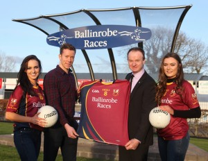 Ballinrobe Races are the new sponsors of the Ballinrobe senior football team. Racecourse Manager John Flannelly is pictured presenting the Team jerseys to team member Donnie Vaughan. Also pictured are Leonie McGuigan and Aisling Duffy from Catwalk Modeling Agency. Pic:Trish Forde.