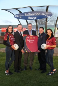 Ballinrobe Races sponsors of the Ballinrobe Senior Football Team, Racecourse Manager John Flannelly presenting the Jerseys to Ballinrobe Club Chairman Declan Corcoran. Also pictured were Leo Powell(The Irish Field Managing Editor) , Aisling Duffy and Leonie McGuigan(Catwalk Modeling Agency).                 Pic:Trish Forde.