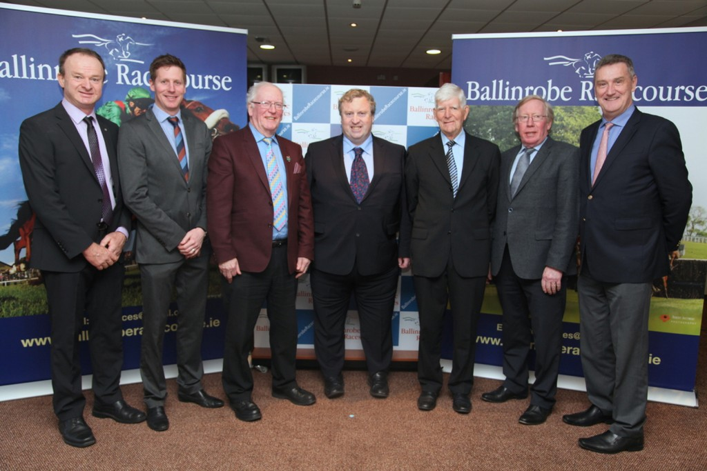 At The Ballinrobe Race Season launch pictured were:Left to right: John Flannelly(Racecourse Manager), Russell Ferris(attheraces), Aidan Burns(Association of Irish Racehorse Owners Manager), Brian Kavenagh(Horse Racing Ireland CEO), John Staunton(Ballinrobe RAce Committee Chairman), John Maloney(Association of Irish Racecourses Chairman). Pic:Trish Forde.